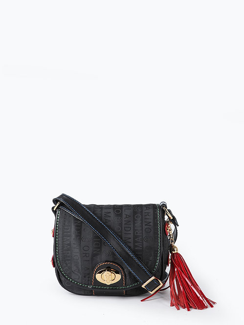 Черная текстильная сумочка флап кросс-боди Marino Orlandi