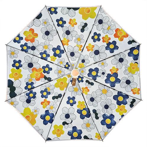 """Зонт со светоотражающим кантом """"Cиние и желтые цветы"""""""