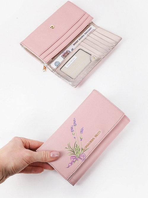 Пастельно-розовый кожаный бумажник с принтом лаванды на кнопке Alessandro Beato
