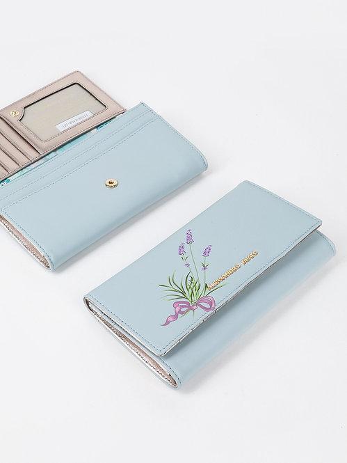 Пастельно-голубой кожаный бумажник с принтом лаванды на кнопке Alessandro Beato