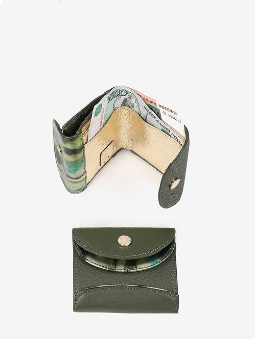 Маленький кошелек из зеленой кожи Alessandro Beato