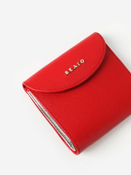 Маленький красный кожаный бумажник с серебристой подкладкой Alessandro Beato