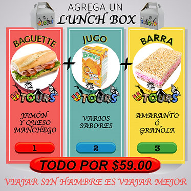 LUNCH BOX Baguette ó Sandwich + Jugo ó Agua + Barra
