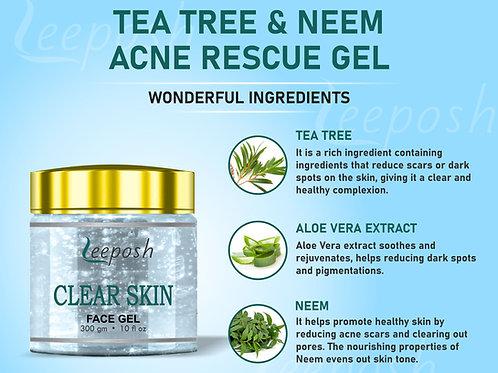 Tea Tree Acne Face Gel For oily to normal skin 300 gm for men women FDA Approv