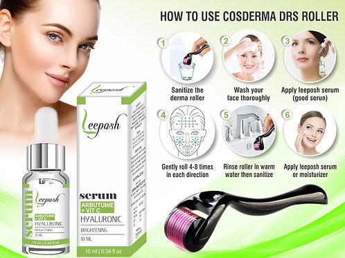 LeePosh Dermaroller 0.5Mm + Arbutin HA & Vit c Serum for Acne Scars Wrinkles Age