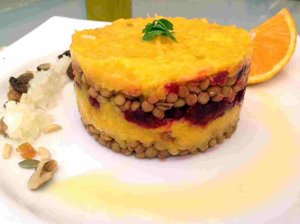 timbal vegano de lentejas y mango con thermomix
