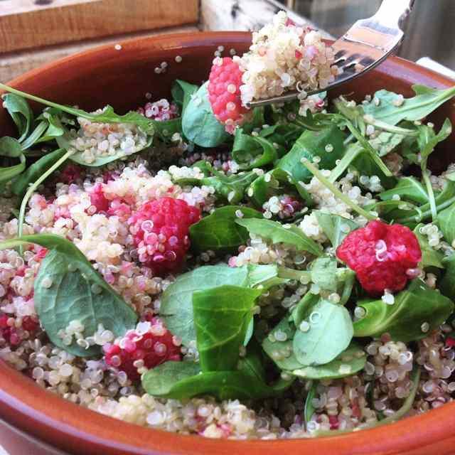 Ensalada de quinoa y frambuesas con thermomix