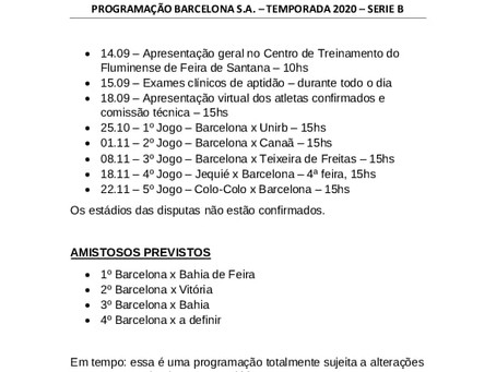 PROGRAMAÇÃO DEFINIDA PARA SÉRIE B 2020