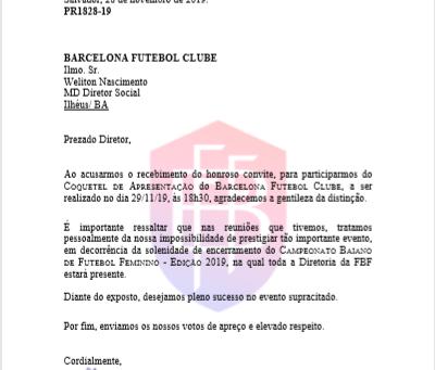 FBF responde convite para o lançamento do Barcelona