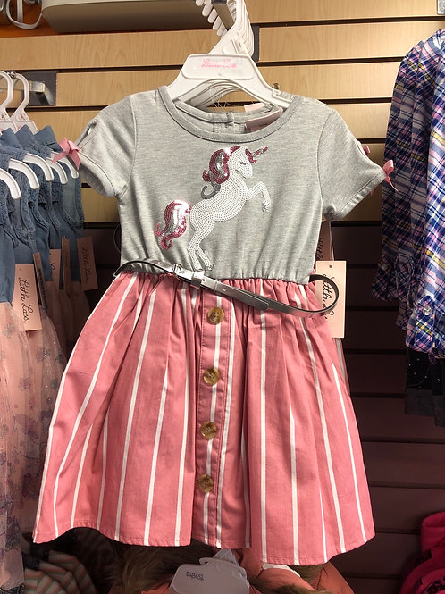 Little Lass Unicorn Dress with Belt, 2T-4T
