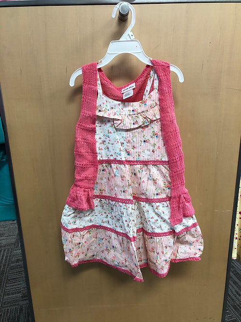 Little Lass 2Pc Dress With Lightweight Sweater Vest, 4-6X