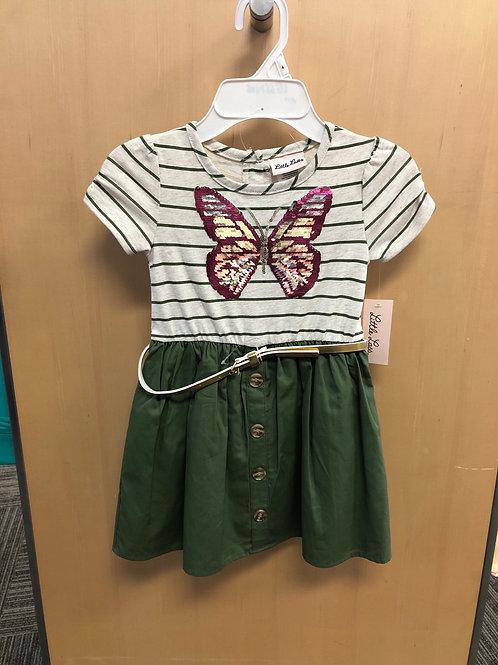 Little Lass Butterfly Dress w/Belt, 4-6X