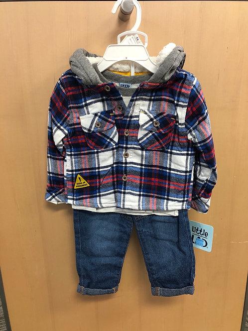 3pc Plaid Jacket, L/S Top & Jeans Set, 12-24m