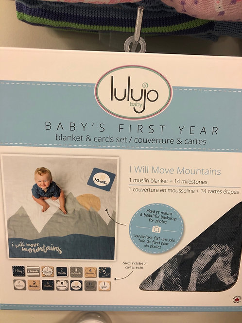 Lulujo Baby's First Year Blanket & Card Set, Move Mountains