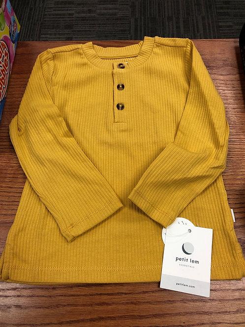 Petit Lem Organic Cotton Henley Top, Golden Yellow