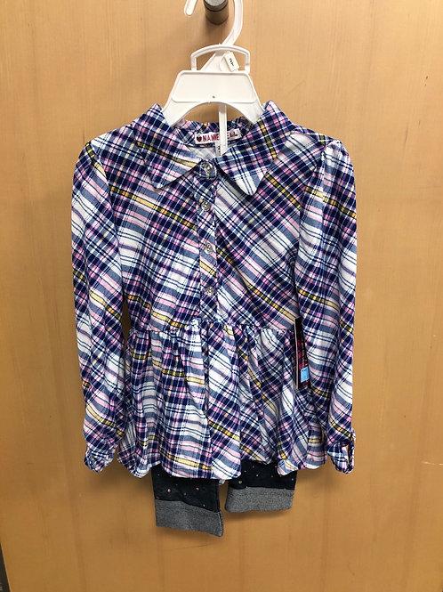 2pc Legging & Flannel Shirt Set , 2T-4T