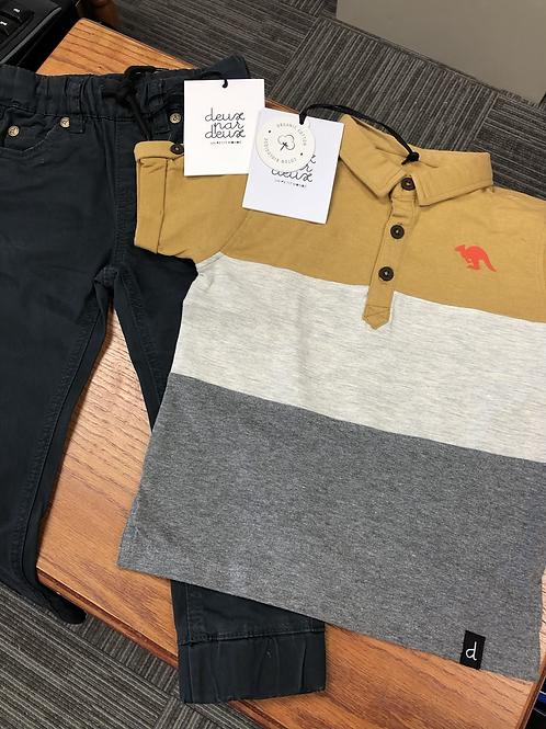 Deux Par Deux Organic Cotton Jersey Polo Shirt, 2-8