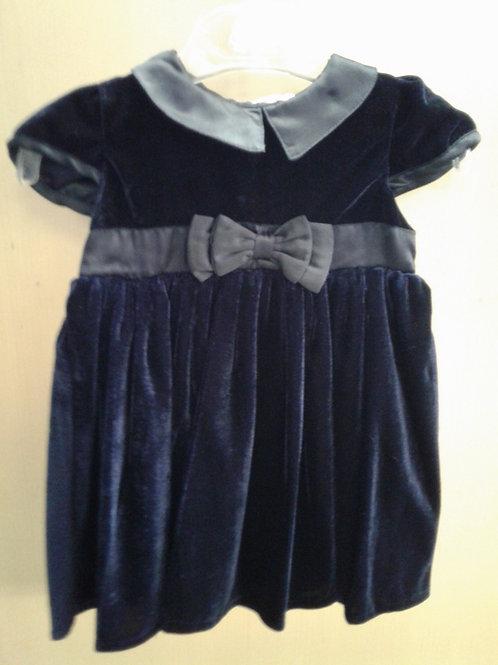 Mini moi blue velour holiday dress