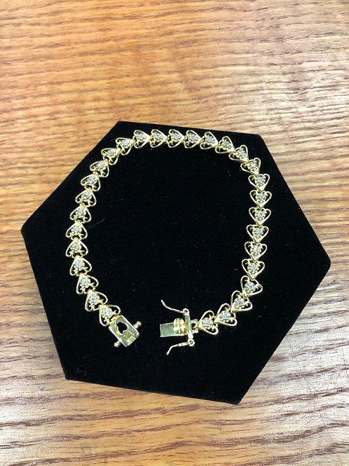 ".88ctw Diamond 7.5"" Heart Bracelet"