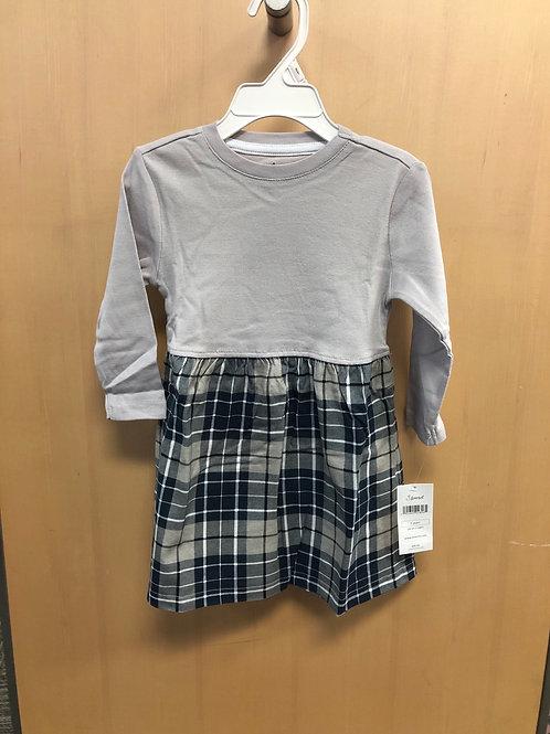 Leveret Cotton Plaid Dress, Grey