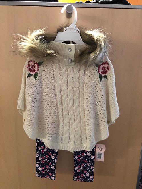 Little Lass 3piece poncho, top and legging set