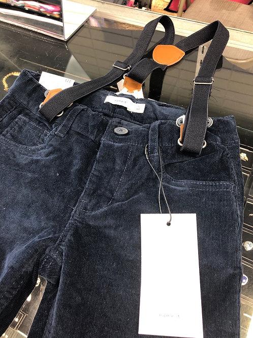 Name It Corduroy Pants, w/suspenders, Navy