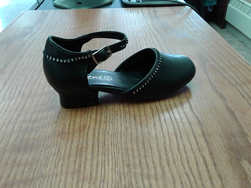 Black dress shoe with rhinestone trim