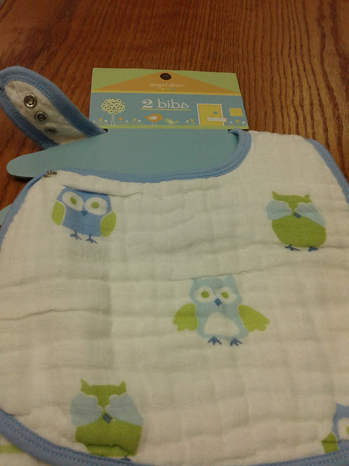 Angel Dear muslin bib, 2 pack, blue owl