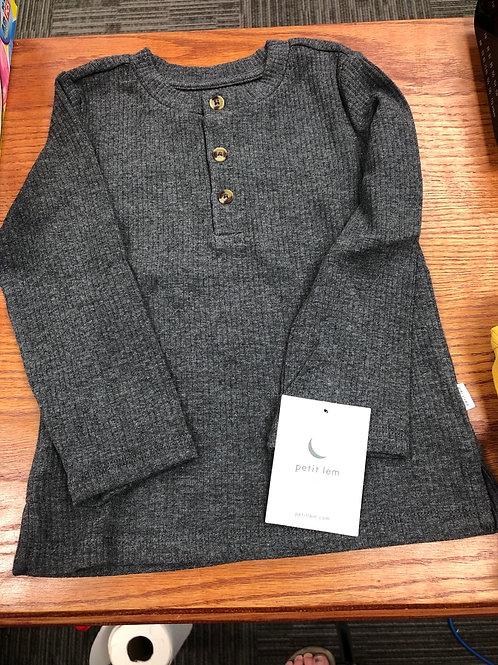 Petit Lem Organic Cotton Henley Top, Grey