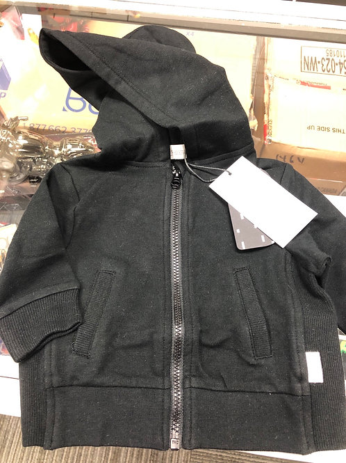 Miles Baby Organic Cotton Hoodie, Black