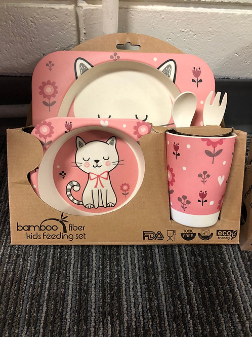 5 Piece Bamboo Feeding Set, Kitty