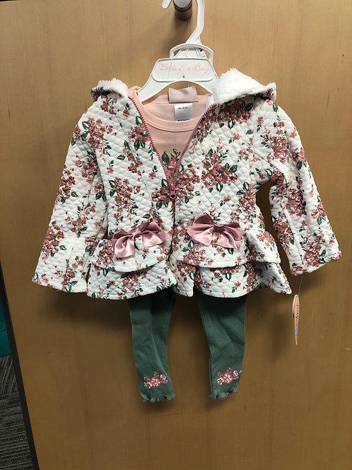 3pc Jacket, L/S Top & Legging Set, 0/3-6/9m