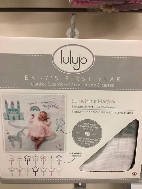 Lulujo Baby's First Year Blanket & Card Set, Something Magical