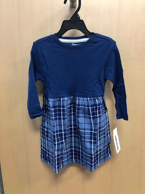 Leveret Cotton Plaid Dress, Navy