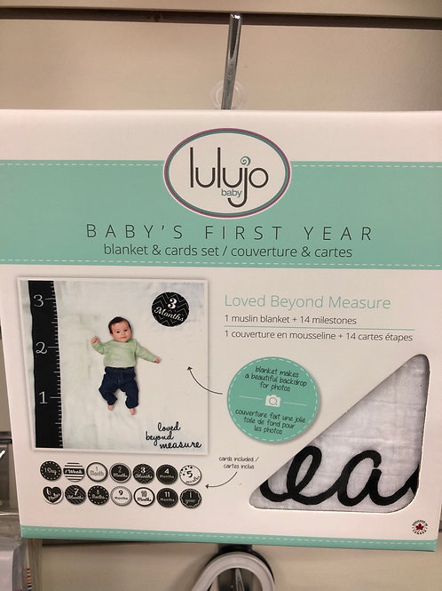 Lulujo Baby's First Year Blanket & Card Set, Loved Beyond Measure