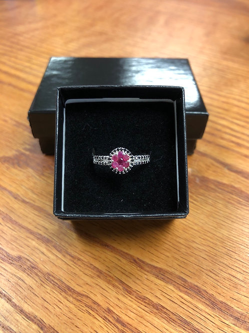 Ruby & Black Spinel Ring, Size 8