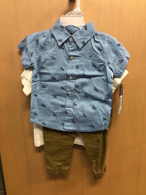 Little Rebels 3 Pc Shirt, Tee & Pant Set, 12m - 24m