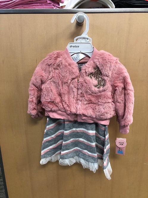 3pc Dress, Faux Fur Jacket & Panty Set,12-24m