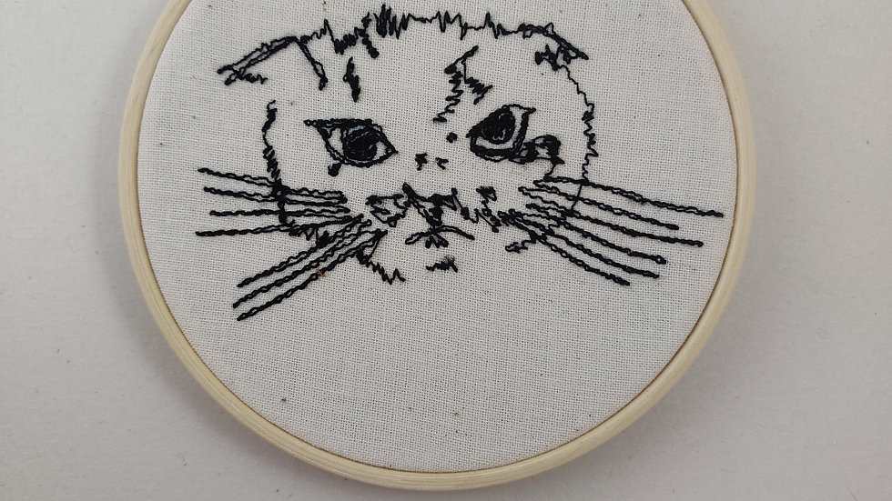 Mardy Bum cat face thread sketch