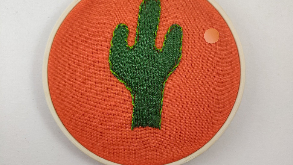 Solo Cacti Hand Embroidered Textile Art