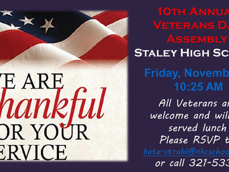 All Veterans are welcome at attend Staley's 10th Annual Veterans Day Assembly on November 9th