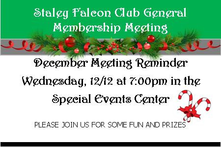 Falcon Club General Membership Meeting on 12/12