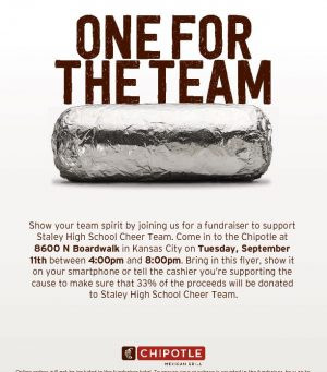 Support SHS Cheer Tomorrow!  Eat at Chipotle