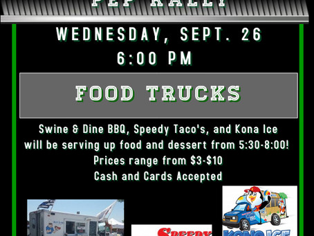 Swine & Dine BBQ, Speedy Taco's, and Kona Ice Food Trucks on Wednesday 9/26/2018!