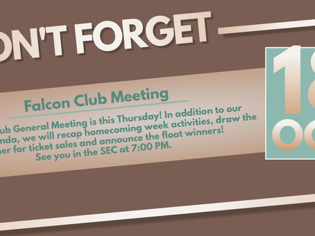 Staley Falcon Club General Membership Meeting This Thursday @ 7:00pm