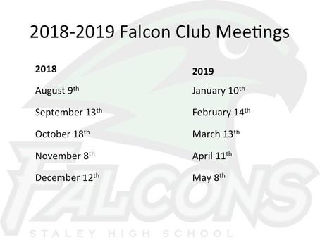 2018-2019 Falcon Club Meetings