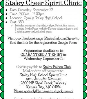 Staley Cheer Spirit Clinic 9/22/2018 – See the Flyer & Registration Link Below