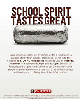Chipotle Falcon Club Fundraiser Next Tuesday 12/11