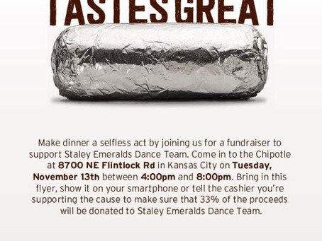 Support Staley Emeralds by eating dinner at Chipotle on November 13th