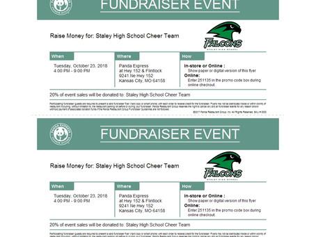 Tomorrow, October 23rd, is Staley Cheer Night at Panda Express from 4:00-9:00pm